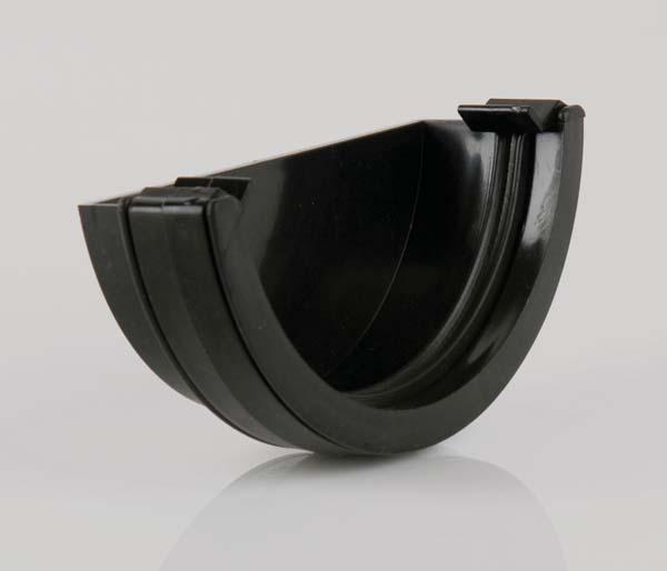 Half Round Gutter 112mm Black Ext Stopend