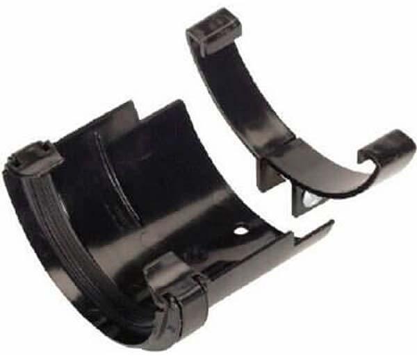 Half Round Gutter 112mm Black CI/Asb Adaptor
