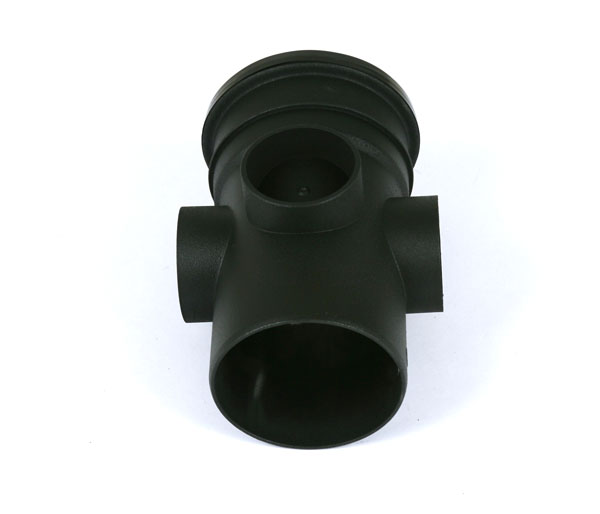 110mm Soil Triple Socket Boss Pipe Black