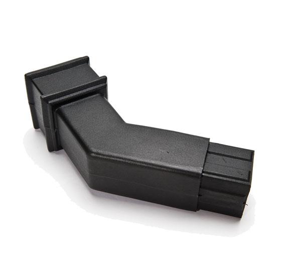65mm Square Pipe 135\' Bend Black