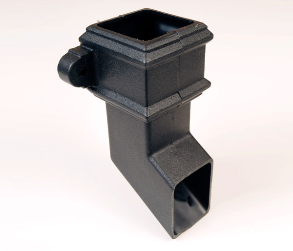 65mm Square Pipe Shoe With Lugs Black