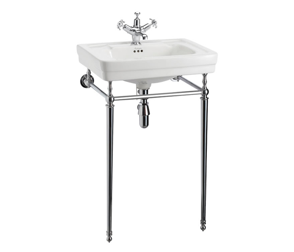 Contemporary Basin + Chrome Washstand 580x470