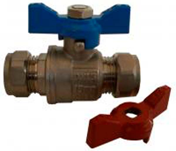 15mm T-Bar Isolating Valve Blue & Red Lever