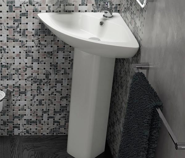Spek 620mm Corner Basin with Full Pedestal