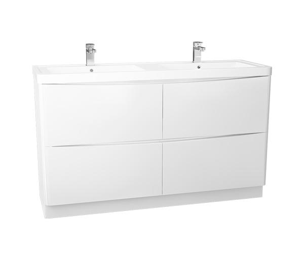 Bali 1400mm Double Basin Unit White Gloss