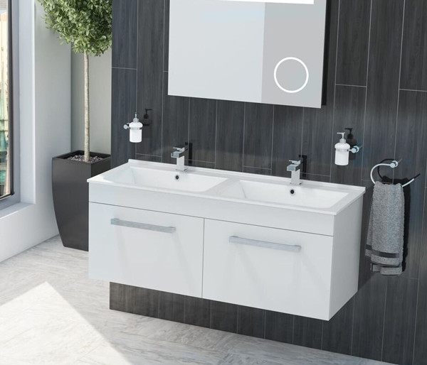 Kass Double Basin Unit White Gloss