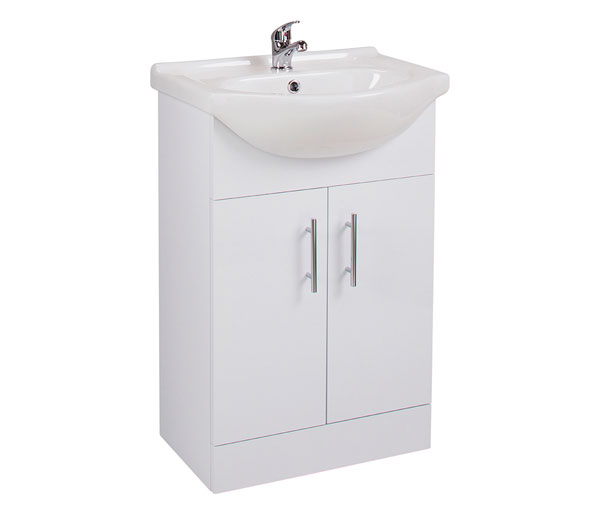 Kass 550mm Basin Unit White Gloss