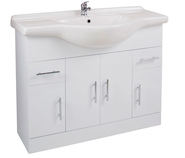 Kass 1060mm Basin Unit White Gloss