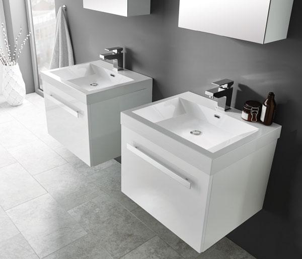 Eko Slab Vanity Unit 550x470mm White Gloss