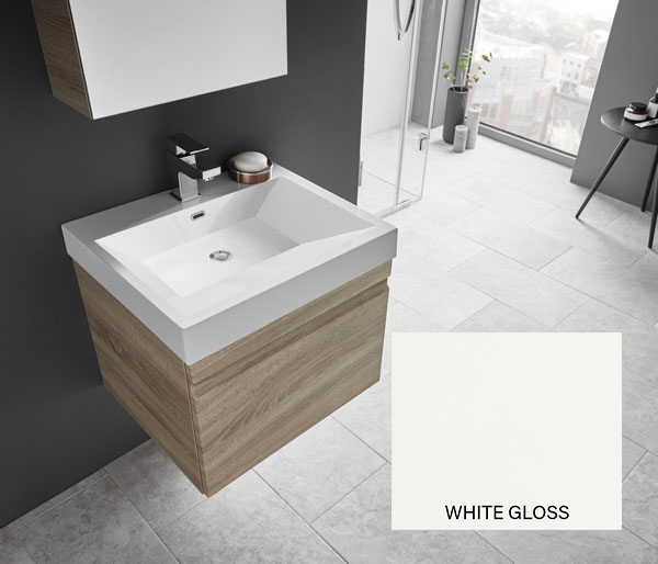 Eko Groove Vanity Unit 550x470 White Gloss