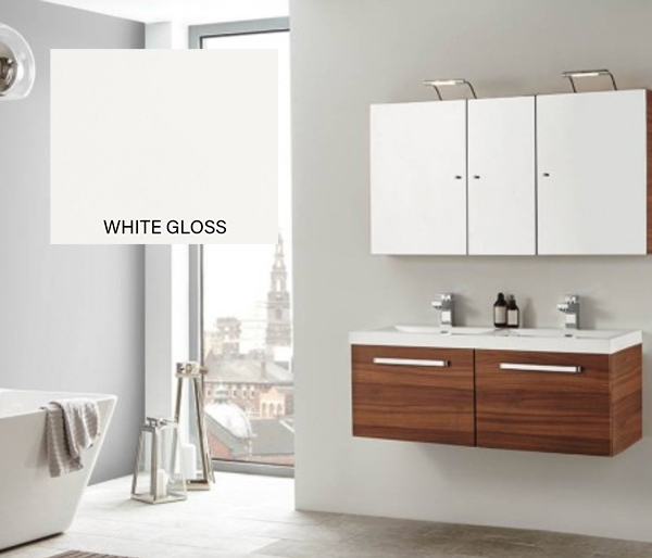 Eko Groove Double Vanity Unit White Gloss