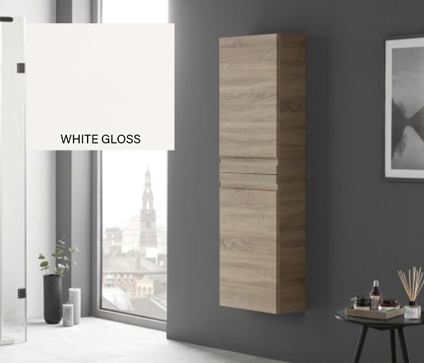 Eko Groove Tall Storage Unit White Gloss