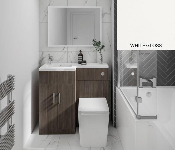 L Furniture Set 1070mm White Gloss LH