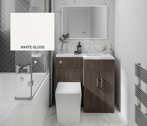 L Furniture Set 1070mm White Gloss RH
