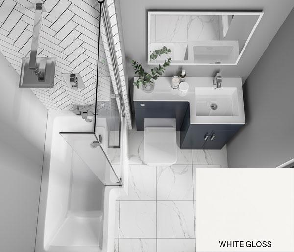 Compact L Furniture Set White Gloss RH