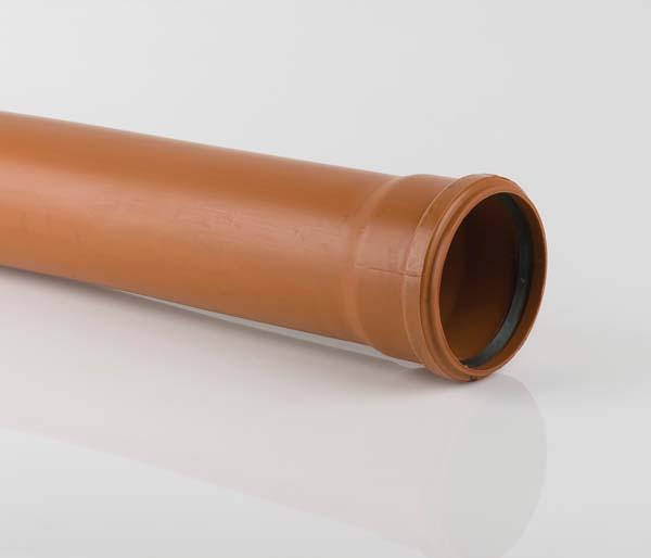 Underground 110mm 3 Metre Single Socket Pipe