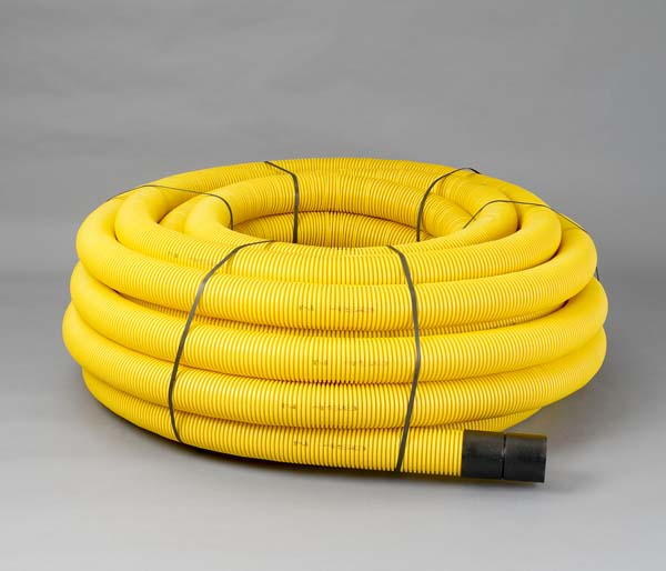 Yellow Gas Ribbed Duct 63/50mm x 50m Non/Per