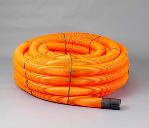 Orange Traffic Ribbed Duct 110/94mm x 50m