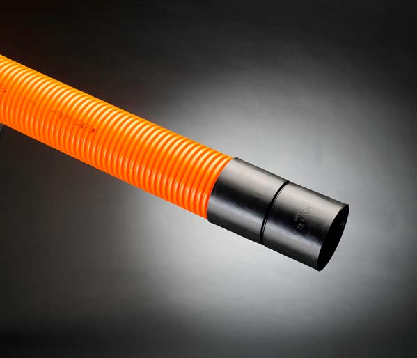 Orange Traffic Ribbed Duct 110/94mm x 6m