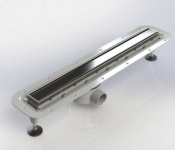 Linear Drain Inc Steel Top 600mm Vert outlet