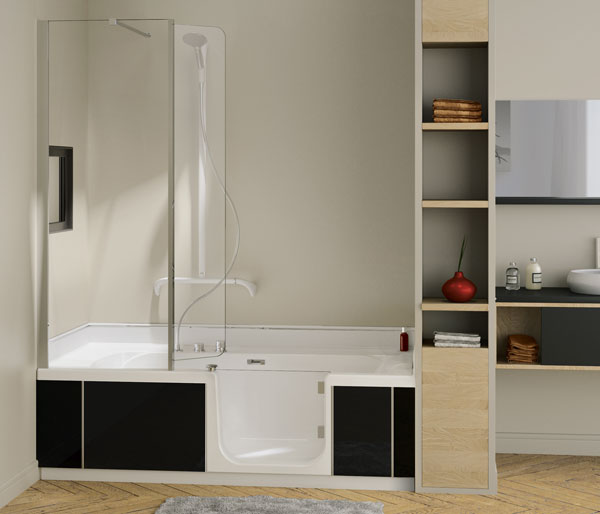 Kinedo Bath Kit 1600x750 Left Hand Black