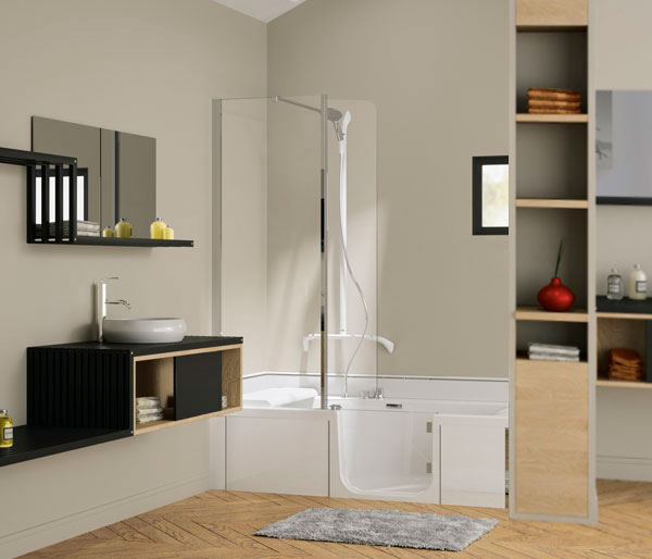 Kinedo Bath Kit 1600x750 Left Hand White
