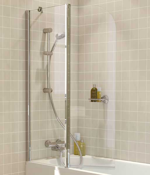 6mm 2 Piece Hinged Bath Screen Curved Silver