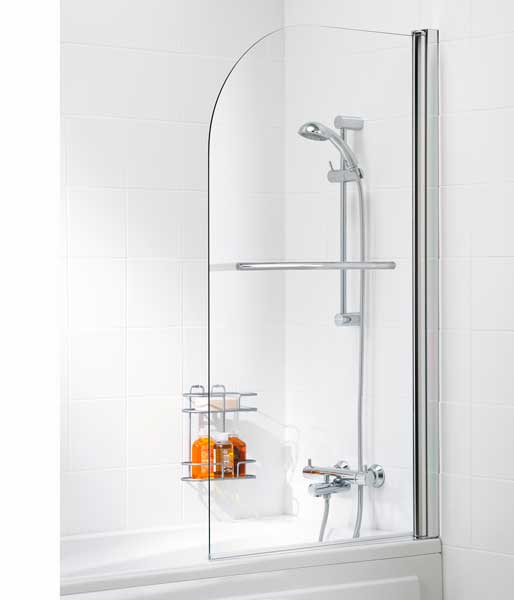 6mm Single bath Screen Curved inc Rail Silver