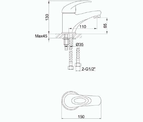 Dv8 Eco Small Basin Mixer with Clicker Waste