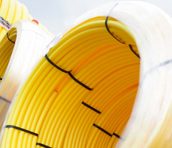 Yellow SC80 Gas Pipe 63mm 100m Coil SDR11