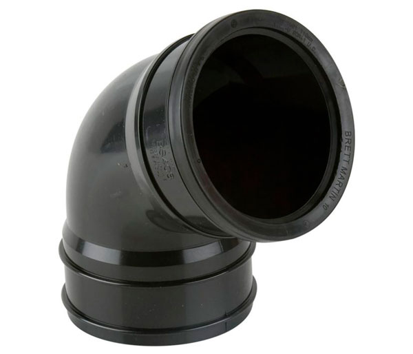 110mm Black Pushfit 112\' Top Offset Bend