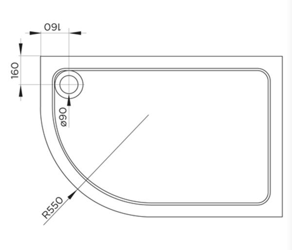 Cavalier Offset Quadrant Tray 900x760mm RH