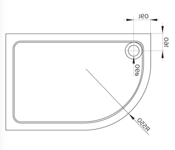 Cavalier Offset Quadrant Tray 900x760mm LH