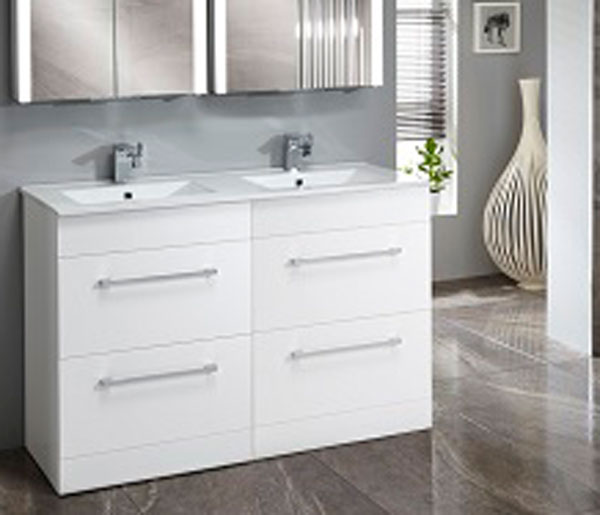Lomond 1200mm Double Basin Unit White Gloss