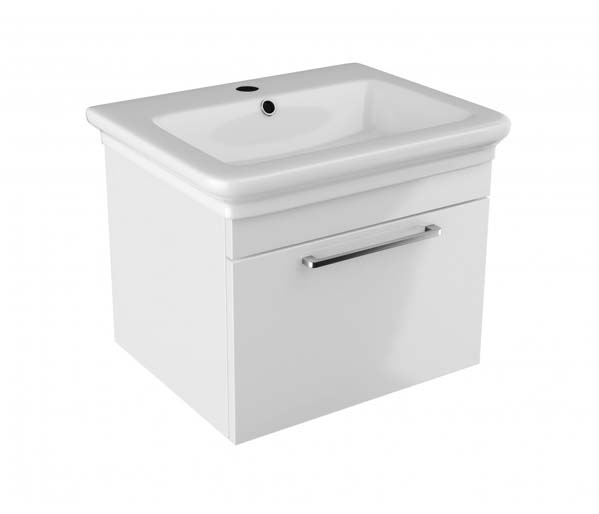 Platto Vanity Unit 600x490mm Gloss White