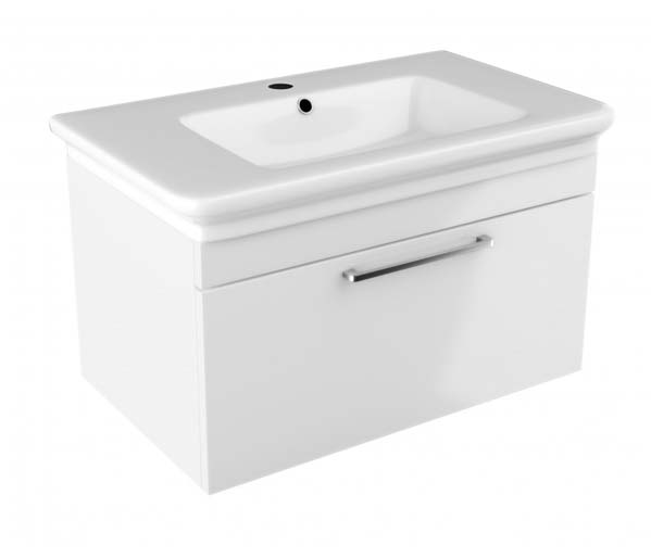 Platto Vanity Unit 800x490mm Gloss White