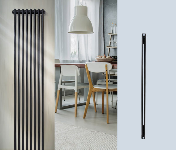 Selena Black Vertical Radiator 1800Hx376W
